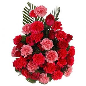 The FloralMart® Mother's Day Special Fresh Flowers Basket Arrangement of 10 Red Roses, 20 Pink & Red Carnations