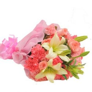 Product Detail- The FloralMart® Mother's Day Special Fresh Flowers Bunch of 10 Pink Roses, 20 Pink Carnations with 03 Lilies. Flowers are very impactful as gifts for any occasion, and leave an everlasting mark on the heart. Send flowers to your dear ones as a mother's day gift and surprise them to the core. Love is the most beautiful emotion and Flowers are the most charming creation of God. Combine both these beautiful existences of the world and gift these flowers of love on your special days for your loved ones. The flower arrangements of seasonal fillers are incredible. Get these flowers at the most nominal price range only at The FloralMart. Book these flowers with The FloralMart as your florist today. Whenever you want to express your feelings towards someone, sending flowers would be the best way to do it. Flowers convey unsaid words. At times, only words are not sufficient or you don't find words to convey what you want. The flower contains the magical powers that help to express your intrinsic feeling in a very subtle manner. Express your feeling with The FloralMart's large range of Floral Arrangements / Floral Gifts which will surely bring a smile to your loved ones. Be it any occasion Birthday, Anniversary, Marriage, Rakhi, Valentine's Day, Mother's Day, Father's Day, Friendship Day, Miss You, New Year, Diwali, Holi, Christmas Day, Republic Day, Independence Day, Teacher's Day, Children's Day, Doctor's Day, Date, Parties, Secret Gifts, Secret Santa or any occasion. This is the most beautiful way to surprise your loved ones. We have a huge range of Gifts for Birthday, Gifts for Anniversary, Gifts for Marriage, Gifts for Rakhi, Gifts for Valentine's Day, Gifts for Mother's Day, Gifts for Father's Day, Gifts for Friendship Day, Gifts for Miss You, Gifts for New Year, Gifts for Diwali, Gifts for Holi, Gifts for Christmas Day, Gifts for Republic Day, Gifts for Independence Day, Gifts for Teacher's Day, Gifts for Children's Day, Gifts for Doctor's Day, Gifts fo